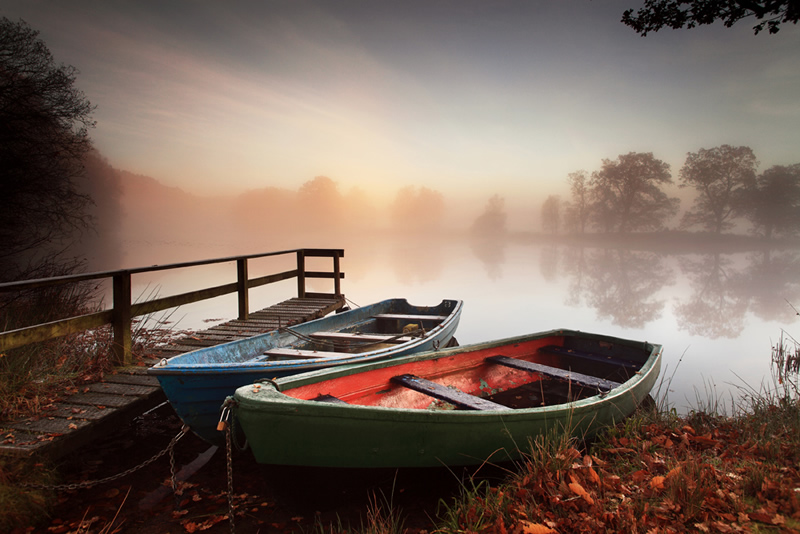 Fishing Boats and Mistbow - Perthshire Scotland