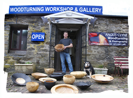 Angus Clyne at his woodturning workshop and gallery